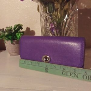 Large Coach Wallet Purple Leather